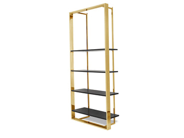 Lennox Bookcase Polished Brass Stainless Steel