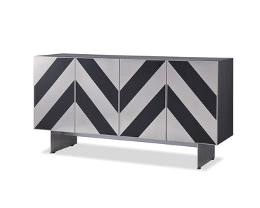 Unma Sideboard Black Ash Brushed Stainless Steel Legs