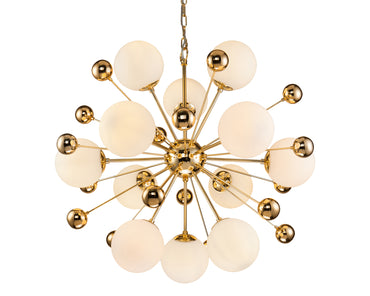 Orius Pendant Lamp White Glass Gold Colour