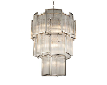 Paladium Pendant Lamp Clear Glass Nickel