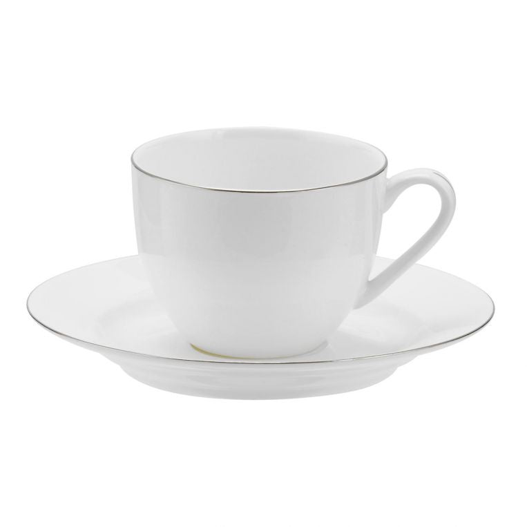 Royal Worcester Serendipity Platinum Tea Cup and Saucer Set of 4