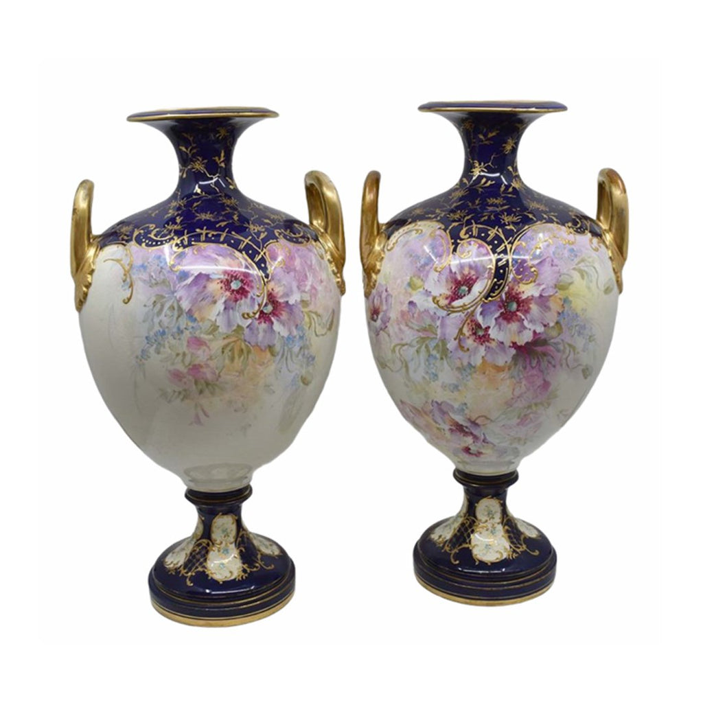 A Pair of Large 19th Century Royal Bonn Twin Handled Vases