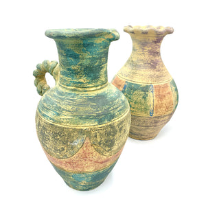 Antique Colorful Moroccan Terra Cotta Pitcher & Vase Set (Unglazed)