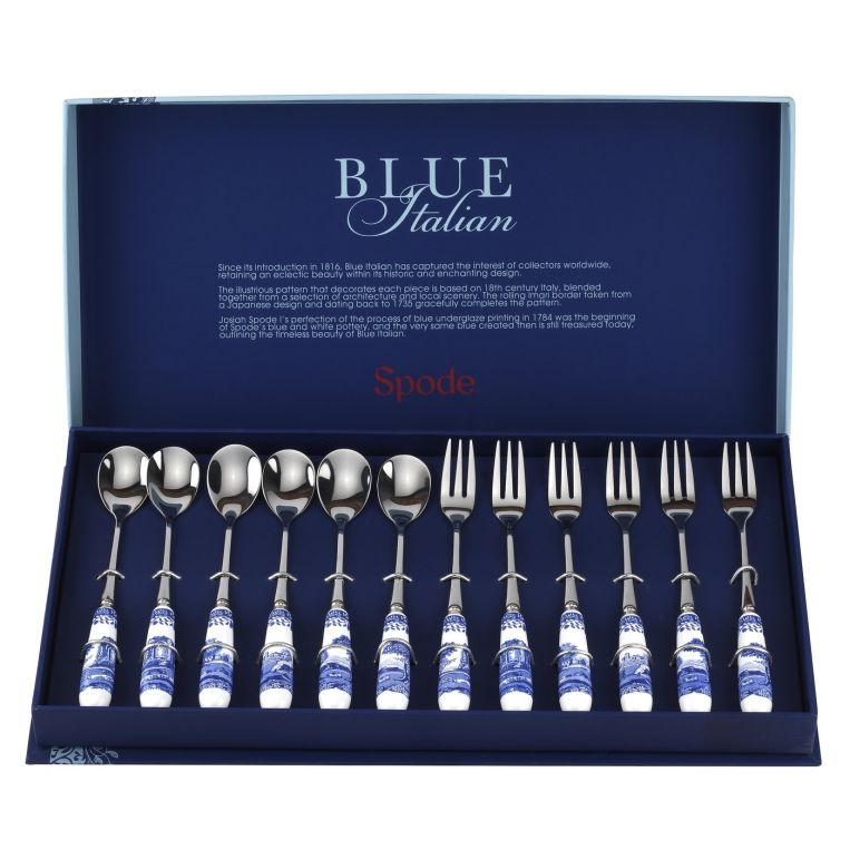 Blue Italian Pastry Forks And Tea Spoons
