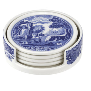 Blue Italian Ceramic Coasters With Holder