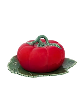 Tomato Butter Dish with Cover Natural