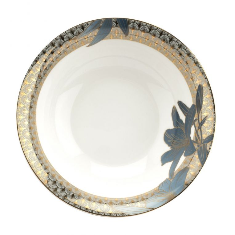 Royal Worcester Blue Lily Serving Bowl