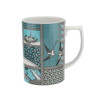 Patchwork Willow Teal Mugs Set of 4
