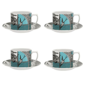 Patchwork Willow Tea Cup & Saucer Set of 4