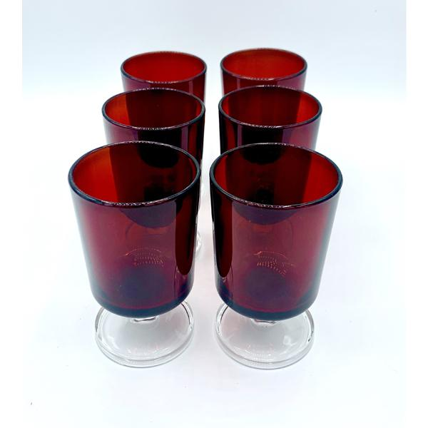 Retro Ruby Short Liquor Glassware Set of 6