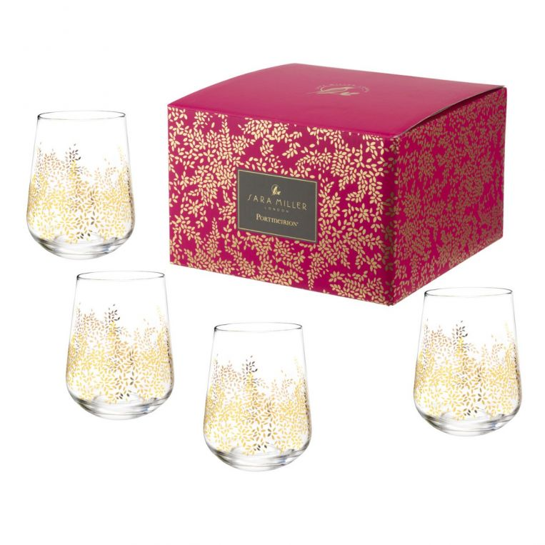 Sara Miller Chelsea Gold Leaf Stemless Wine Glass Set of 4