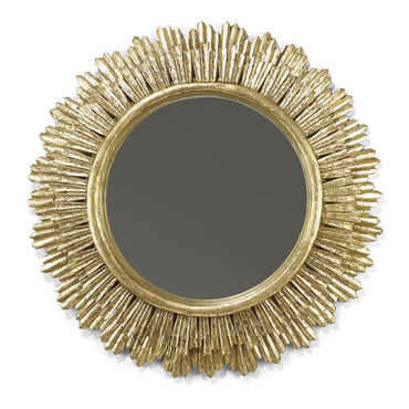Grand Soleil Antiqued Gold Leaf Hand-Carved Wall Mirror