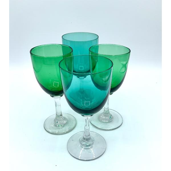 Victorian Green Wine Glasses C1880 Set of 4