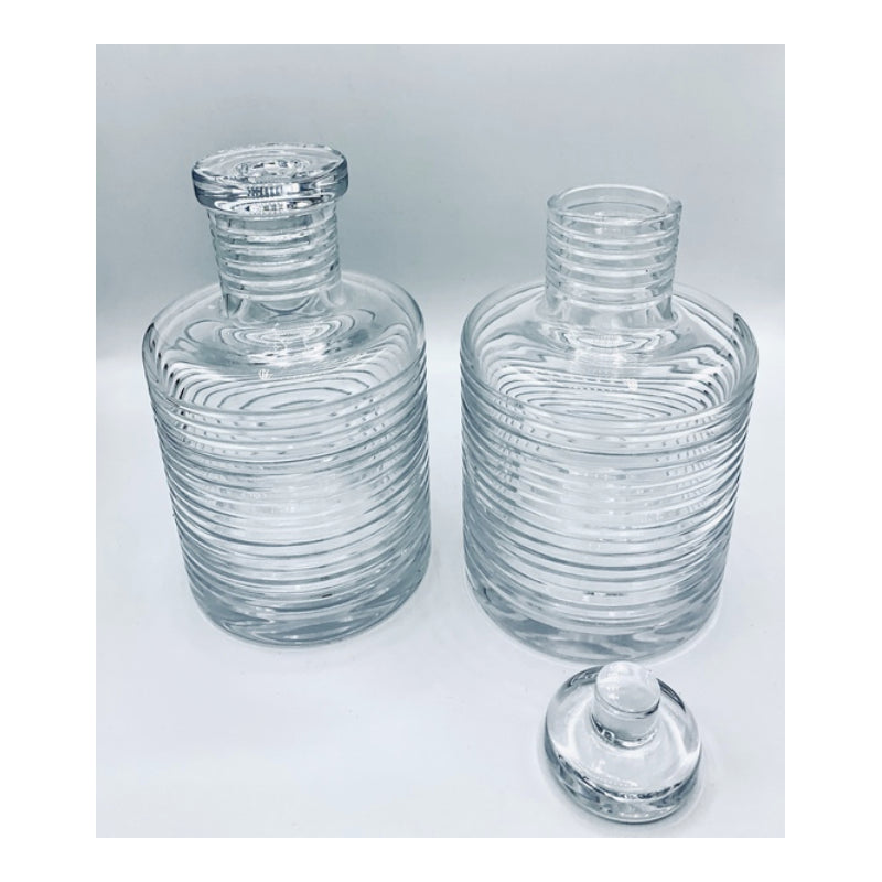 Vintage Ralph Lauren Glass Ribbed Decanter Set of 2
