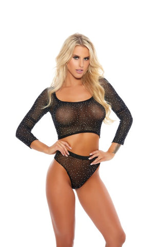 Rhinestone Crop Top With Matching Panty