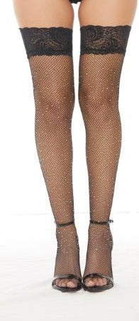 Rhinestone Thigh High Pantyhose