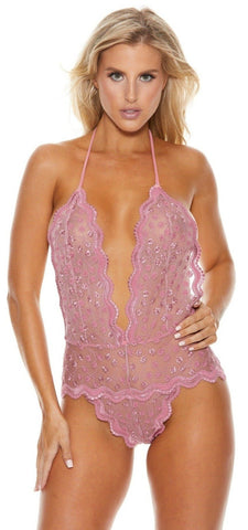 Embroidery Lace Teddy With Open Back