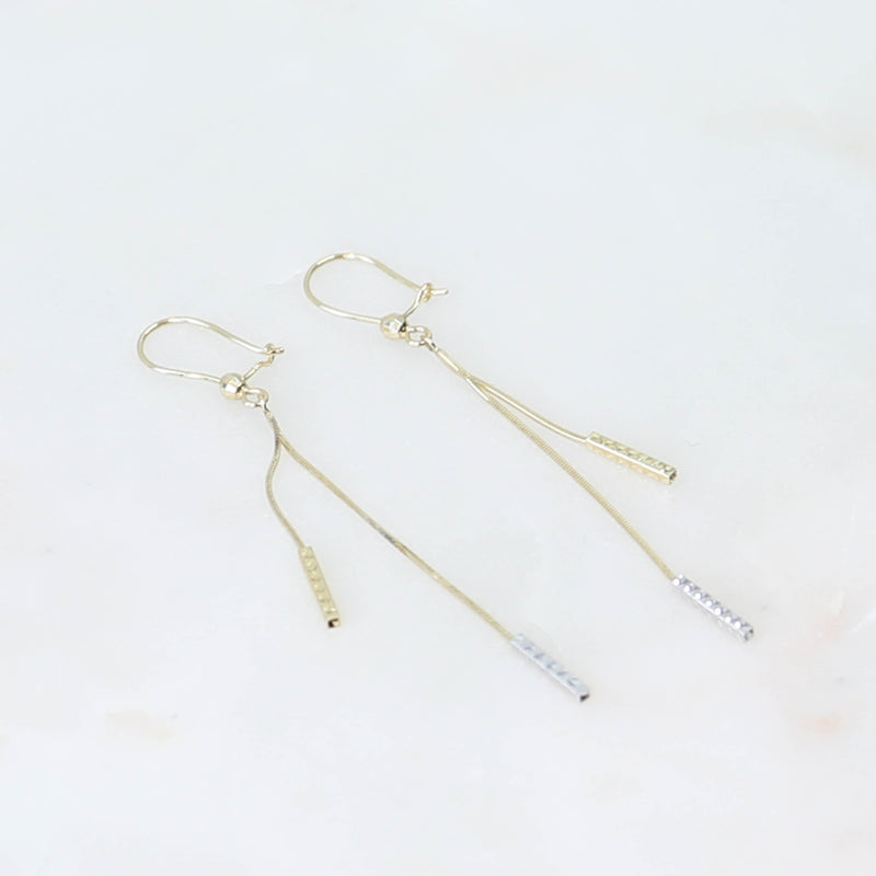 PARPAR</br>10K Yellow & White Gold Earrings