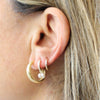 PARPAR</br>Sterling Silver Gold Plated Retro Crescent Moon Studs