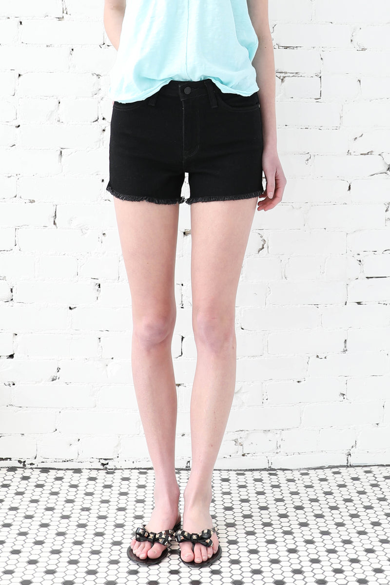 JUST BLACK</br>High Rise Frayed Hem Shorts With Slits