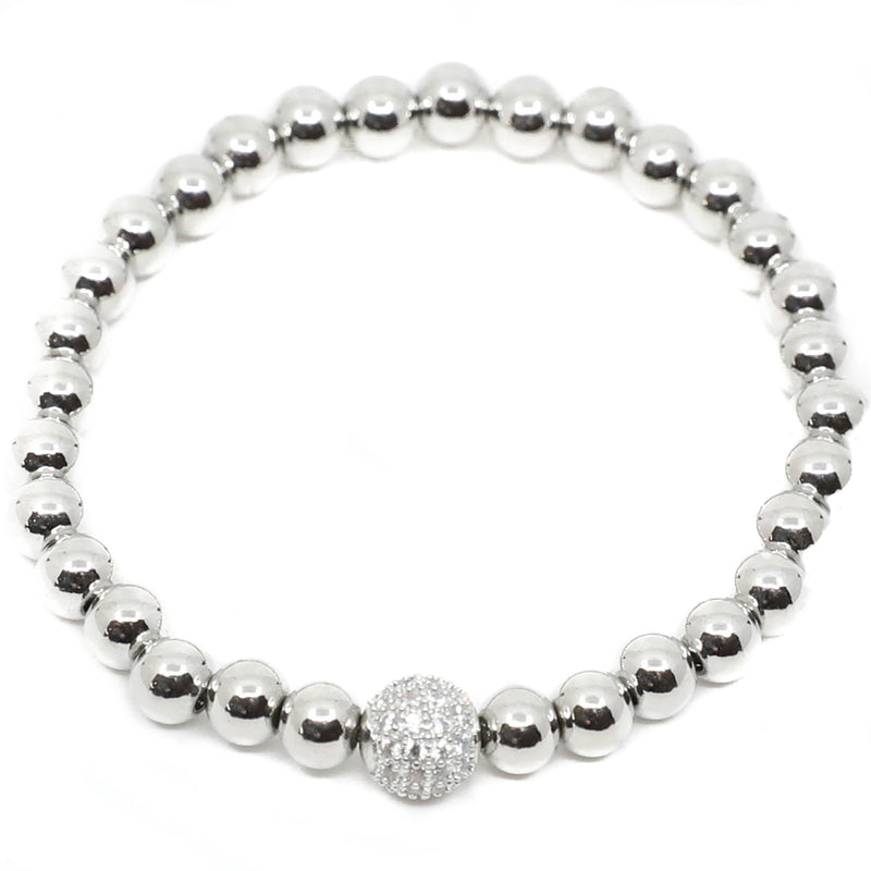 S&C </br>Crushed Stone Round Center Stretch Bracelet