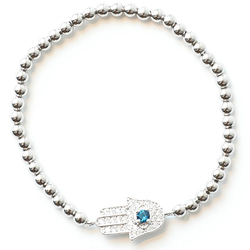 S&C </br>Hamsa Blue Center Stretch Bracelet