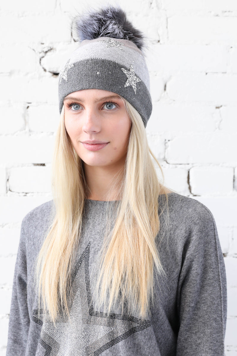 PARPAR </br>Knit Hat Sparkle Stars With Fox Pom Pom Available In Charcoal And Black