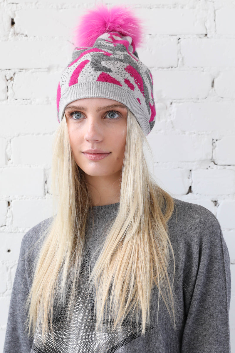 PARPAR </br>Camo Knit Wool Hat Fox Pom Pom Available in 2 Colours