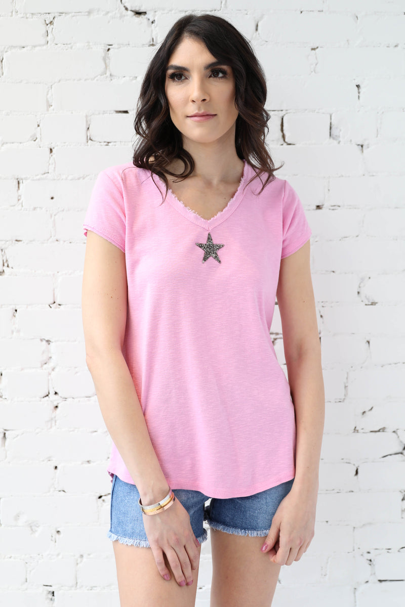 PARPAR </br>Frayed V-Neck Tee With Jewelled Star Detail