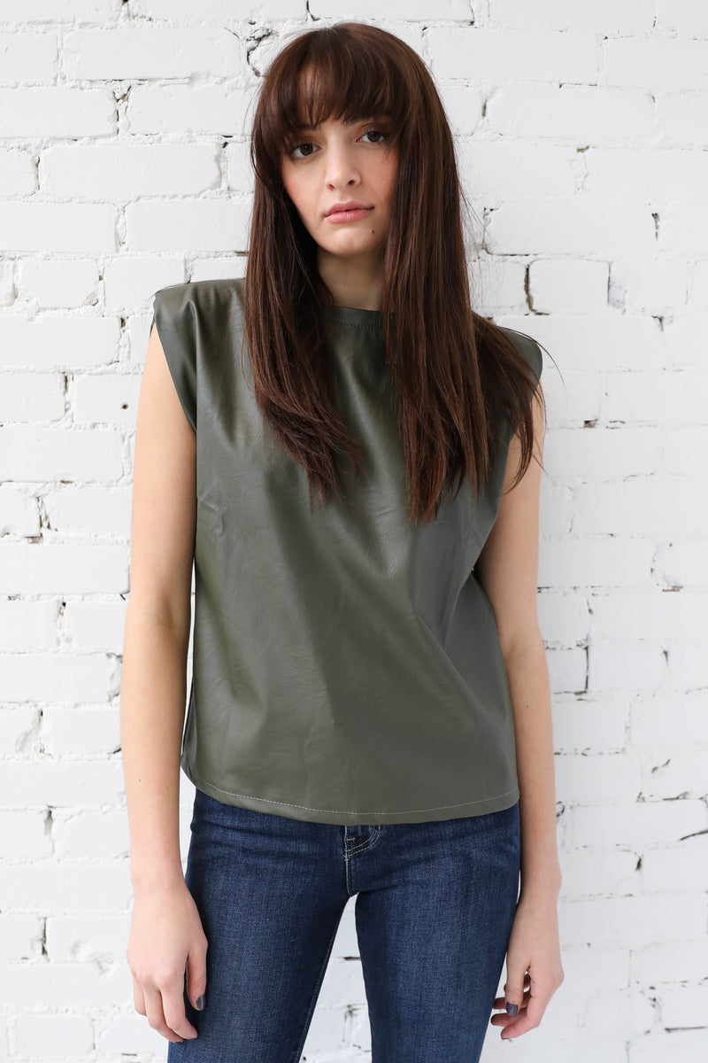 AVERY RAYNE </br>Pleather Sleeveless Shoulder Pad Top