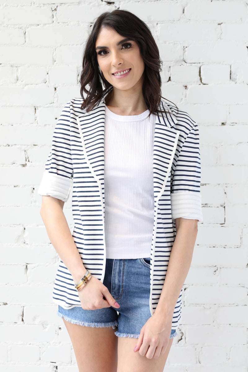 PARPAR </br>Nautical Stripe 'Rock & Roll' Unstructured Jacket
