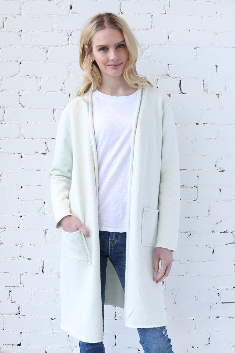 MODODOC </br>Long Sleeve Open Front Cotton Cardi