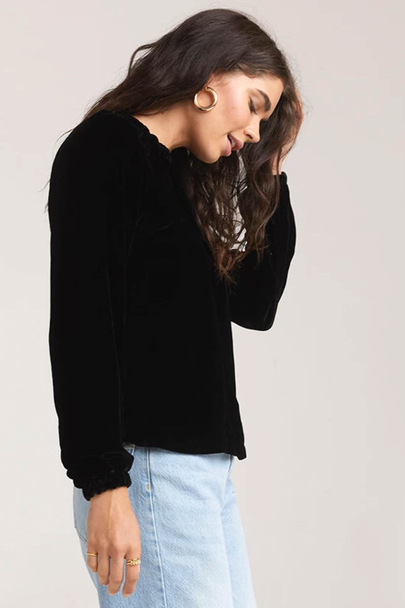 BELLA DAHL </br>Velvet Gathered Raglan Sleeve Blouse