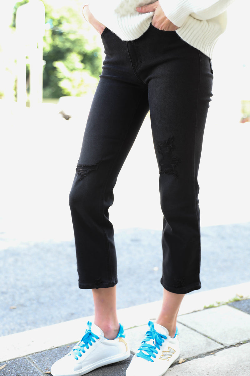 JUST BLACK </br>High Rise Straight With Hem Details Available in Black & Blue