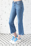 JUST BLACK </br>High Rise Cropped Flared Distressed Denim