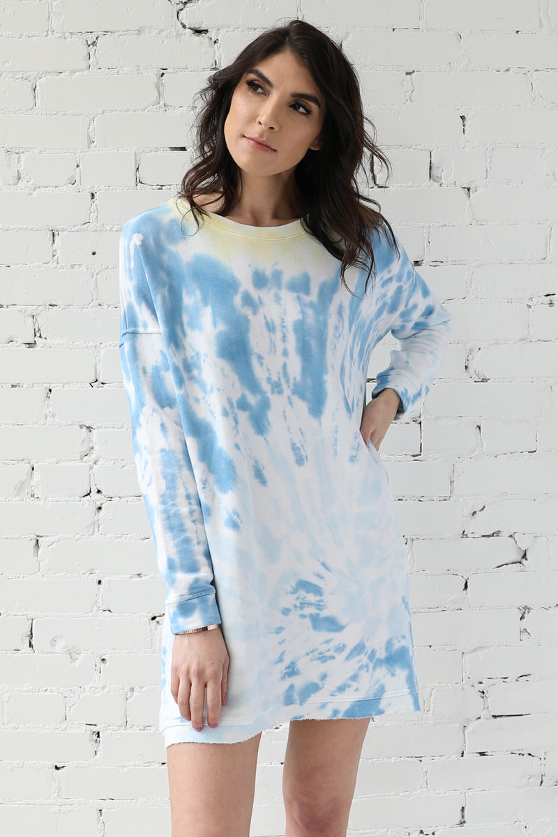 AVERY RAYNE </br>Tie Dye French Terry Shift Dress