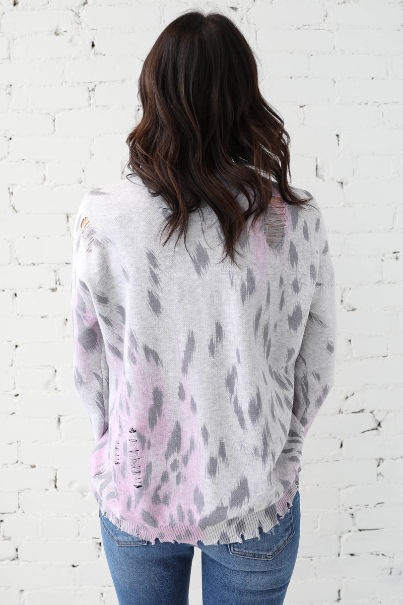 AVERY RAYNE </br>Animal Print Distressed Knit