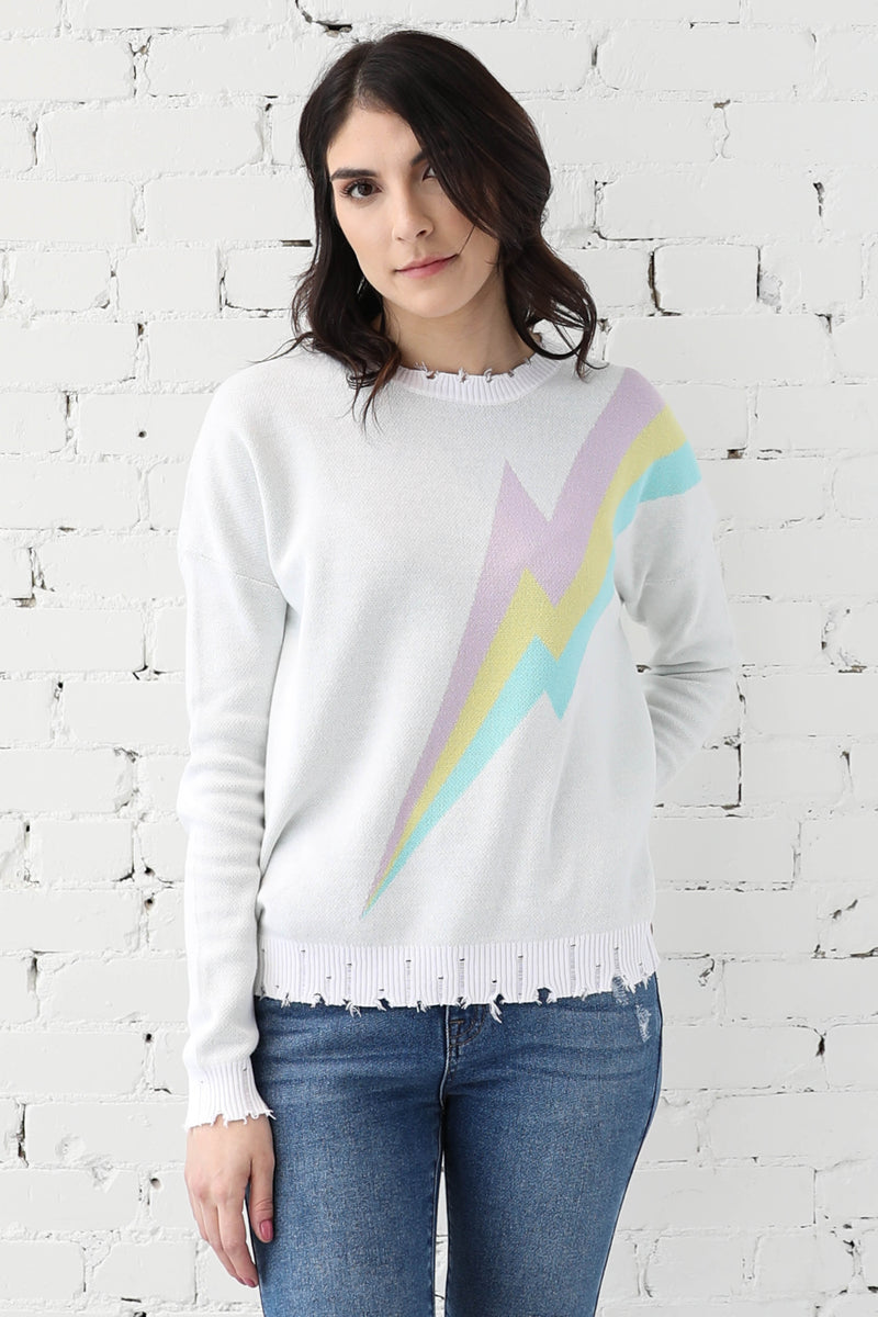 AVERY RAYNE </br>Lightning Bolt Distressed Knit Top