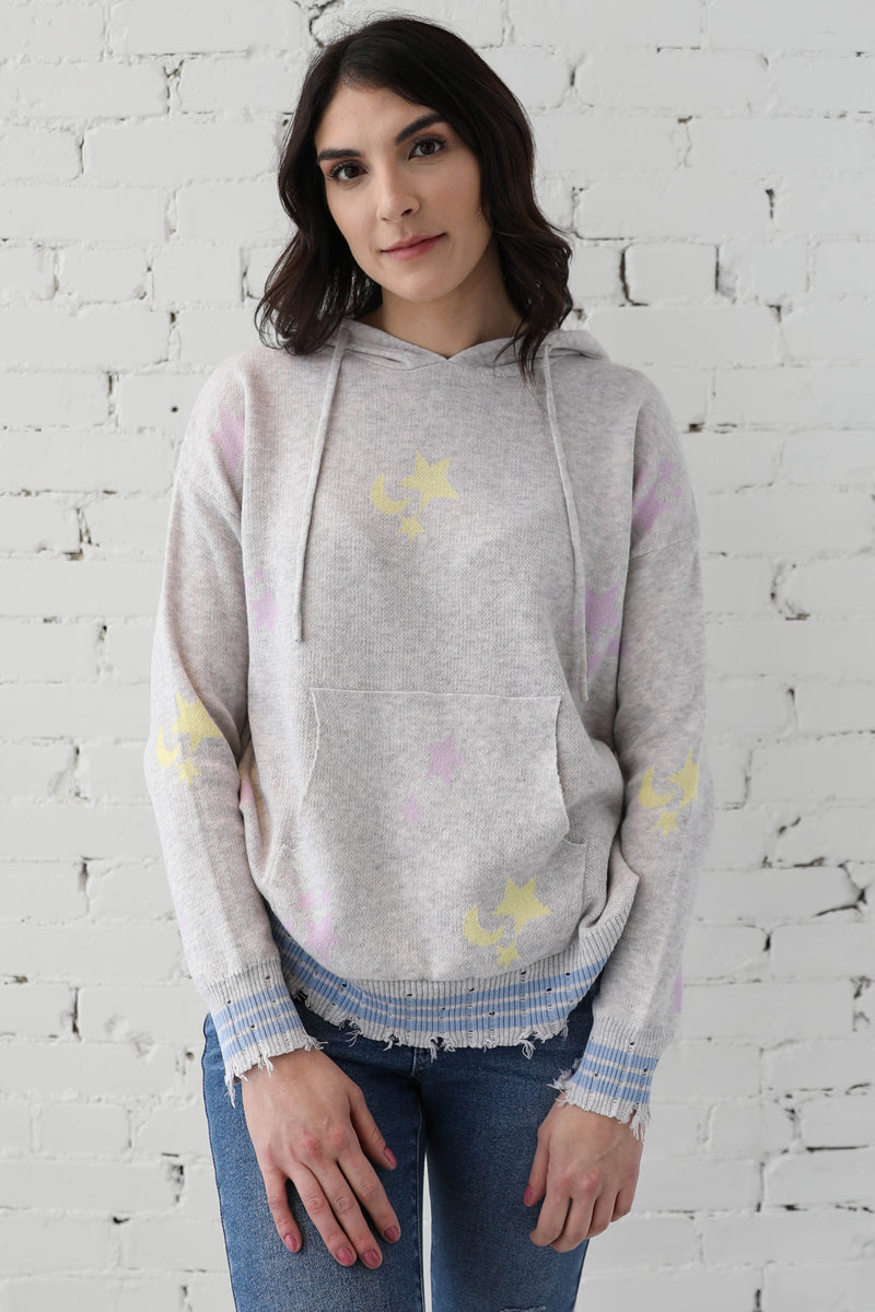 AVERY RAYNE </br>Star Moon Distressed Hoodie
