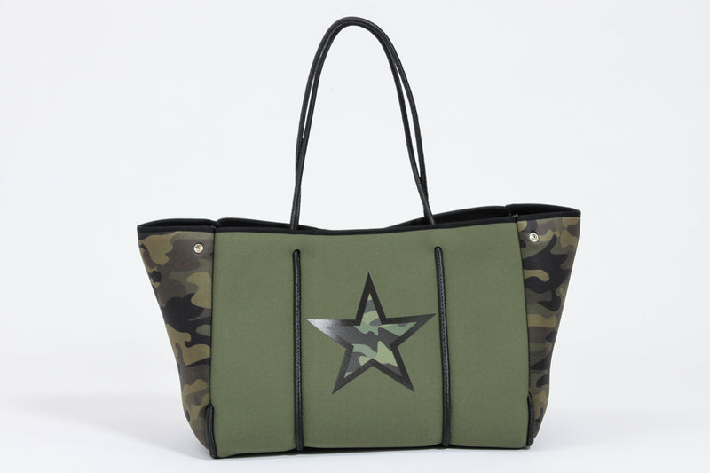 HAUTE SHORE </br>Neoprene Camo Tote With Star
