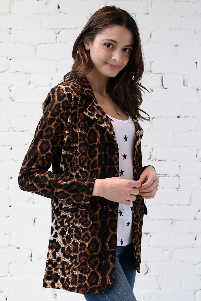 AVERY RAYNE </br>Animal Print Ponti Blazer