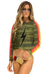 AVIATOR NATION </br>Bolt Stitch Classic 4 Stripe Cropped Crew Sweatshirt