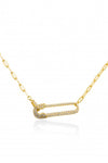 PARPAR</br>Sterling Silver Paperclip Necklace Gold Plated With Crushed Diamond Details