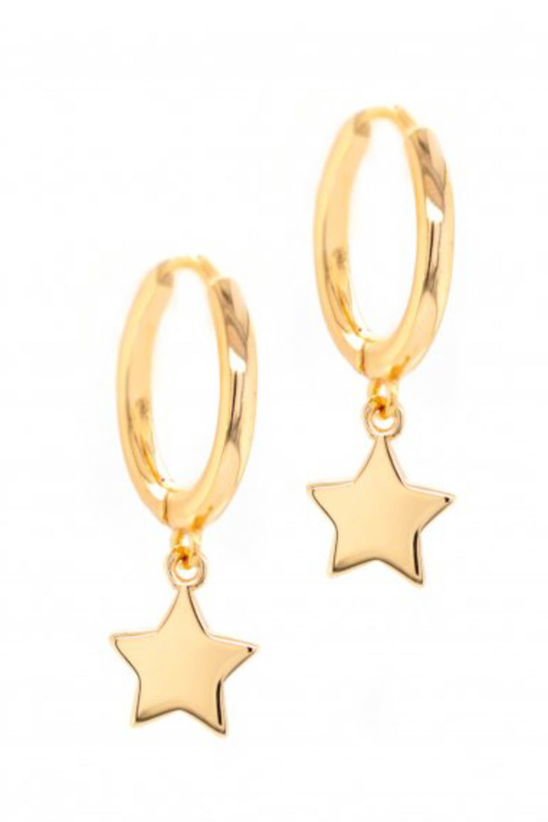 PARPAR</br>Sterling Silver Star Huggies Gold Plated