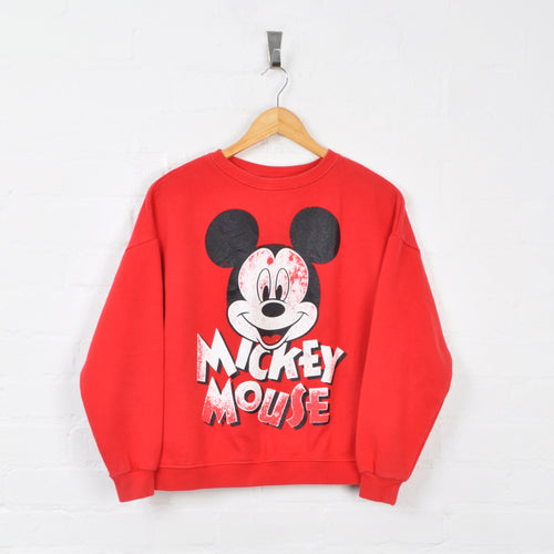 Disney Mickey Mouse Sweater Red Ladies XS