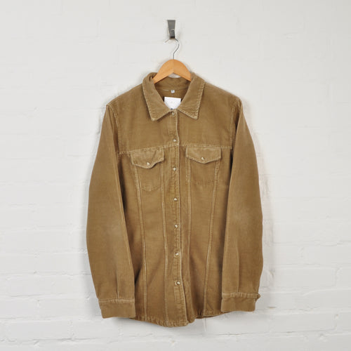 Jumbo Corduroy Overshirt Tan Ladies Large