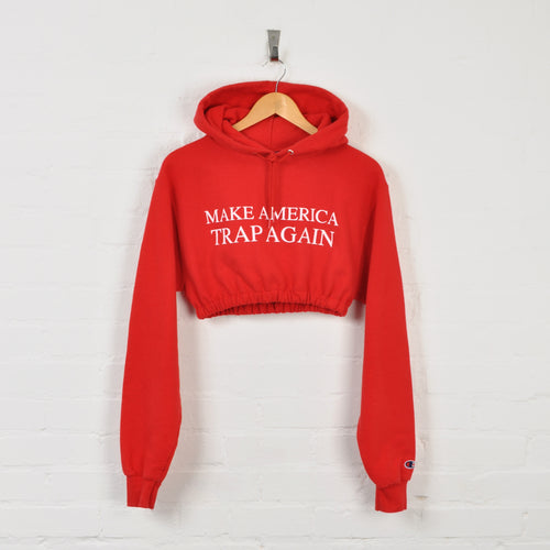 Champion Rework Cropped Hoodie Red Ladies Small
