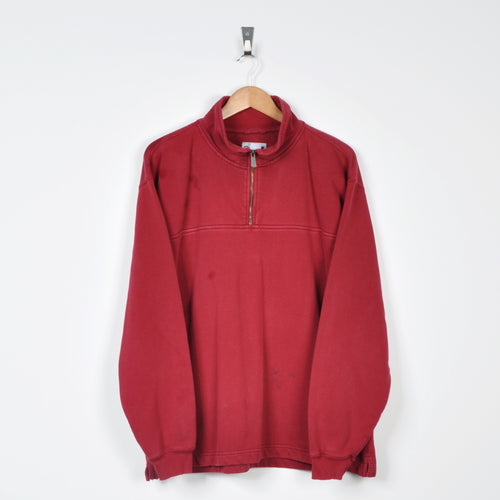 Vintage Carhartt 1/4 Zip Sweater Red XL
