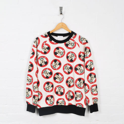 Disney Mickey Mouse Sweater White Ladies Large