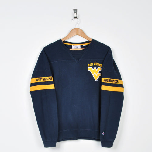 Vintage Champion West Virginia Sweater Navy Small